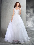 Ball Gown Sweetheart Lace Court Train Organza Wedding Dress