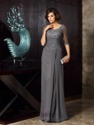 Scoop Chiffon 1/2 Sleeves Long Mother of the Bride Dress