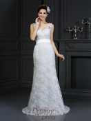 Trumpet/Mermaid Sweetheart Chapel Train Lace Wedding Dress