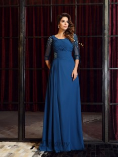 1/2 Sleeves Square Chiffon Floor-Length Dress