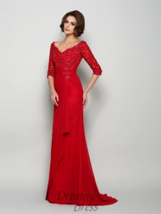 1/2 Sleeves V-neck Chiffon Long Mother of the Bride Dress