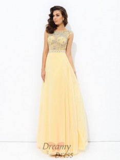 A-line Bateau Chiffon Long Dress