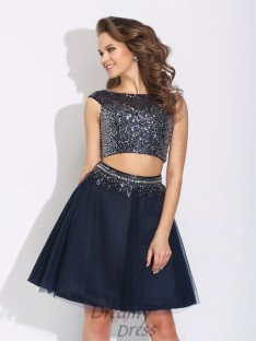 A-line Bateau Short Two Piece Net Dress