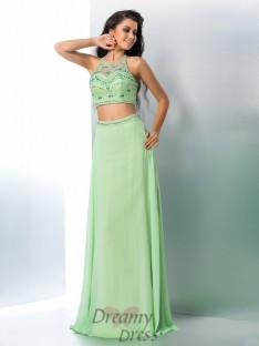 A-line Halter Chiffon Floor-Length Two Piece Dress