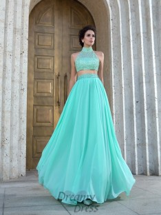 A-line High Neck Chiffon Floor-Length Two Piece Dress