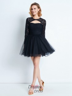 A-Line High Neck Long Sleeves Short Net Dress with Lace