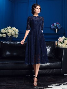 A-line Jewel 1/2 Sleeves Knee-Length Lace Mother Of The Bride Dress