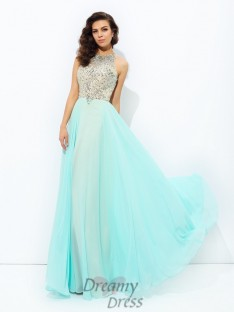 A-line Jewel Chiffon Long Dress
