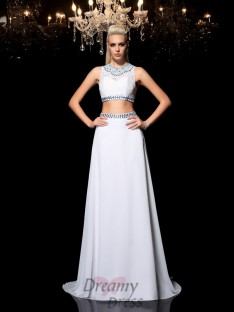 018cc89cc10b A-line Jewel Floor-Length Chiffon Two Piece Dress