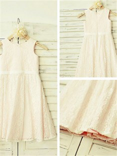 A-line Jewel Floor-Length Lace Flower Girl Dress