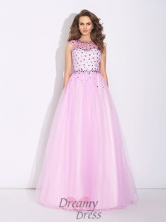 A-line Jewel Net Long Dress