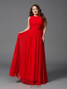 A-line Jewel Ruched Floor-Length Chiffon Plus Size Dress