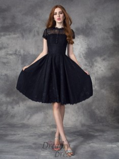 A-line Jewel Short Sleeves Lace Knee-Length Dress