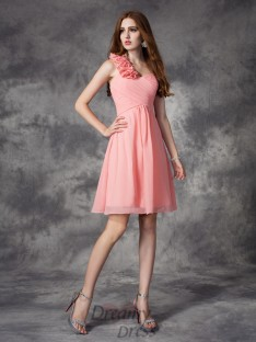 A-line One-Shoulder Short Chiffon Bridesmaid Dress