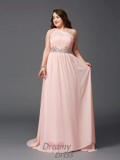 A-line One-Shoulder Sweep/Brush Train Chiffon Plus Size Dress