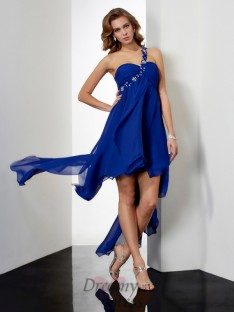 A-Line/Princess Asymmetrical One-Shoulder Chiffon Dress