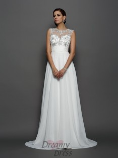 A-Line/Princess Bateau Chiffon Court Train Dress