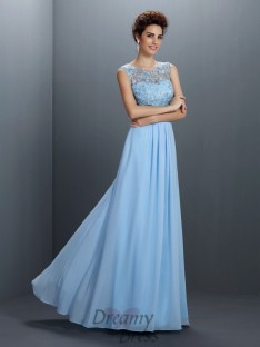 A-Line/Princess Bateau Chiffon Long Dress