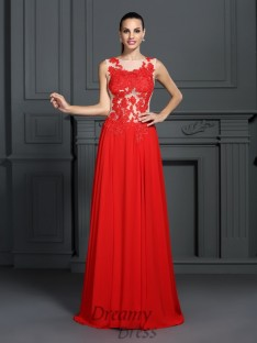 A-Line/Princess Bateau Sweep/Brush Train Chiffon Dress