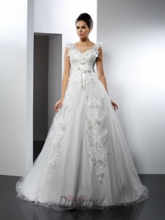A-Line/Princess Cathedral Train Satin Wedding Dress