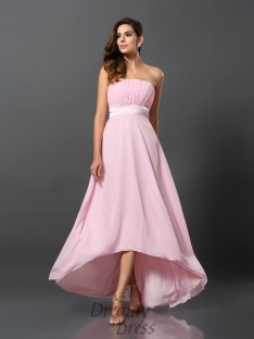 A-Line/Princess Chiffon Asymmetrical Strapless Dress