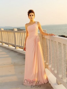 A-Line/Princess Chiffon One-Shoulder Floor-Length Dress