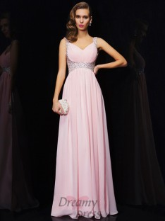A-Line/Princess Chiffon Straps V-neck Floor-Length Dress
