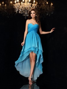 A-Line/Princess Chiffon Sweetheart Asymmetrical Dress