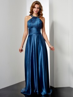 A-Line/Princess Elastic Woven Satin Halter Floor-Length Dress