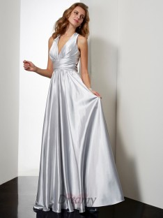 A-Line/Princess Floor-Length Halter Pleats Elastic Woven Satin Dress