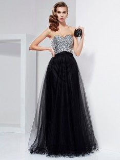 A-Line/Princess Floor-Length Strapless Beaded Elastic Woven Satin Dress