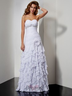 A-Line/Princess Floor-Length Sweetheart Chiffon Dress
