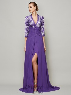 A-Line/Princess Floor-Length V-neck Sweep/Brush Train Chiffon Dress
