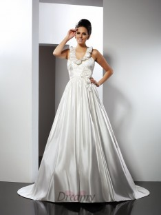 A-Line/Princess Halter Chapel Train Satin Wedding Dress