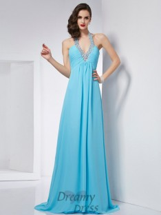 A-Line/Princess Halter Chiffon Sweep/Brush Train Dress