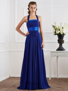 A-Line/Princess Halter Ruched Floor-Length Chiffon Dress