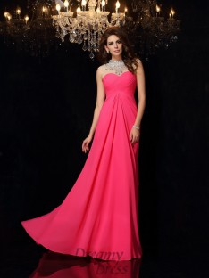 A-Line/Princess High Neck Chiffon Sweep/Brush Train Dress