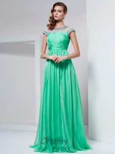 A-line/Princess High Neck Floor-Length Chiffon Dress