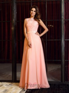 A-Line/Princess High Neck Sweep/Brush Train Chiffon Dress