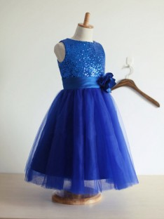 A-line/Princess Jewel Tulle Floor-length Flower Girl Dresses with Hand-made Flower
