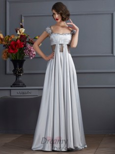 A-Line/Princess Off-the-Shoulder Pleats Elastic Woven Satin Dress