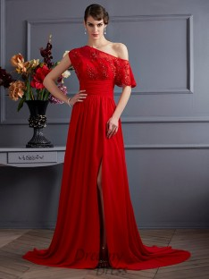A-Line/Princess One-Shoulder Chiffon Court Train Dress