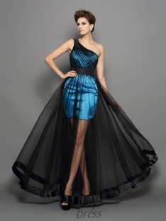 A-Line/Princess One-Shoulder Elastic Woven Satin Floor-Length Dress