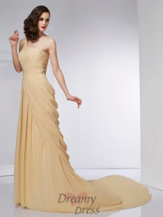 A-Line/Princess One-Shoulder Pleats Chiffon Chapel Train Dress