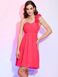 A-Line/Princess One-Shoulder Pleats Short/Mini Chiffon Dress