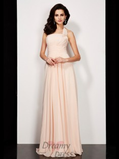 A-Line/Princess Pleats Halter Floor-Length Chiffon Dress