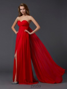 A-Line/Princess Pleats Sweetheart Floor-length Chiffon Dress