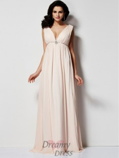 A-Line/Princess Pleats V-neck Floor-Length Chiffon Dress