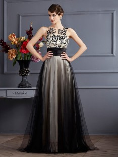 A-Line/Princess Scoop Silk like Satin Floor-Length Dress