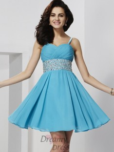 A-Line/Princess Short/Mini Spaghetti Straps Chiffon Dress